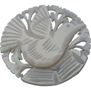 """Large Jordan Pearl Bethlehem Holy Land Carved Openwork Mother of Pearl Dove Button 1 3/8"""""""