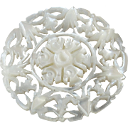 """Carved Openwork Mother of Pearl Bethlehem Holy Land Jordan Pearl Button Star Snowflake 1 1/16"""""""