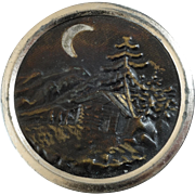 "Large Antique Victorian Black Forest Scene Metal Picture Button marked GESCHUTZT 1 11/16"""