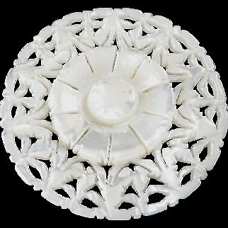"Large Carved Openwork Mother of Pearl Bethlehem Holy Land Jordan Pearl Button Star Flower 1 3/8"""