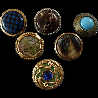 "Six Antique Victorian Metal Celluloid Paste Composition Buttons 11/16"" to 3/4"""
