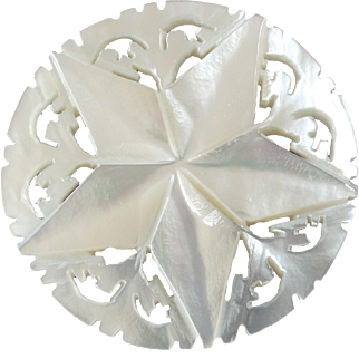 """Large Carved Openwork Mother of Pearl Bethlehem Holy Land Jordan Pearl Button 5-pointed Star 1 3/8"""""""
