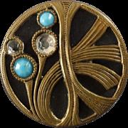 """Antique Art Nouveau Metal Paste Floral Button 1 1/8"""""""