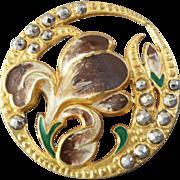 "Restored - Large Art Nouveau Openwork Lacquered Metal Cut Steel Flower Button 1 1/4"""