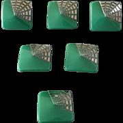 """Six Art Deco Czech Glass Buttons with Platinum 7/8"""""""
