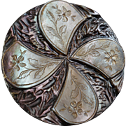 """Large Antique Victorian Carved Gilded Mother of Pearl Button 1 3/8"""""""