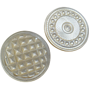 """Two Antique Victorian Carved Mother of Pearl Buttons 1"""" and 1 1/16"""""""