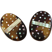 """A Pair of Antique Victorian Pique Horn Mother of Pearl Lapel Stud Buttons  1 1/16"""""""