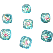 """Seven Small Antique Paperweight Buttons Turquoise w/ Pink Roses Mica 3/8"""""""