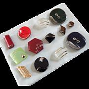 """A Card of 13 Fancyful Czech Art Deco Glass Buttons 3/8"""" to 1 1/4"""""""