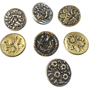 """Seven Antique Victorian Metal Picture Flower Butterfly Buttons 7/8"""""""