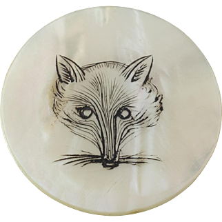 """Large Antique Victorian Etched Mother of Pear Hunt Sporting Button Fox Head  1 7/16"""""""