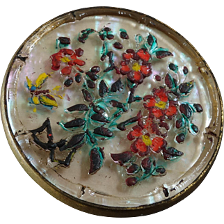 """Large Antique Victorian Painted Glass over Mother of Pearl Metal Button 1 1/8"""""""