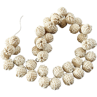"45 Antique Victorian Adorable Cream Coloured Crochet Buttons Bobbles 7/16"""