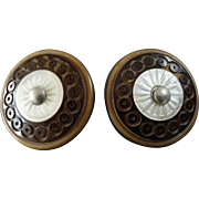 """Two Antique Victorian Carved Vegetable Ivory Corozo Mother of Pearl Buttons 1 1/16"""""""