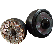 """Two Antique Victorian Vegetable Ivory Corozo Carved Mother of Pearl Cut Steel Black Glass Bell Buttons 9/16"""""""