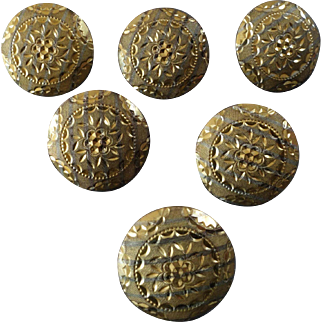 """Six Antique Victorian Rich Orange Striped Gilded and Stamped Metal Buttons 7/8"""""""