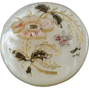 """Antique Victorian Carved Dyed Gilded Mother of Pearl Button Flower Design 7/8"""""""