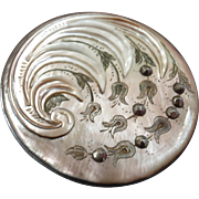Large Antique Art Nouveau Carved Mother of Pearl Cut Steel Button Lily of the Valley - just under 1 5/8""