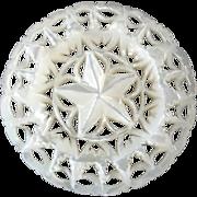 "Large Carved Openwork Mother of Pearl Bethlehem Holy Land Jordan Pearl Button Star Flower 1 7/16"""