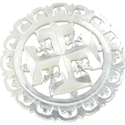 """Large Carved Openwork Mother of Pearl Bethlehem Holy Land Jordan Pearl Button Cross Potent 1 7/16"""""""