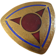 Large Triangular Art Deco Champlevé Enamel Brass Button 1 3/4""