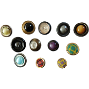 """Twelve Small Antique Victorian DUG Design under Glass and other Metal Composition Buttons 7/16"""" to 11/16"""""""