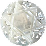 """Large Carved Openwork Mother of Pearl Bethlehem Holy Land Jordan Pearl Button 6-pointed Star of David 1 5/16"""""""