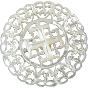 """Large Carved Openwork Mother of Pearl Bethlehem Holy Land Jordan Pearl Button Cross Potent 1 3/8"""""""