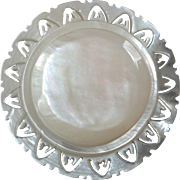 Large Carved Openwork Mother of Pearl Bethlehem Holy Land Jordan Pearl Button Flower  1 7/16""