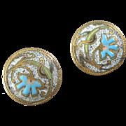 """Two Small Antique Art Nouveau Enamel Buttons Paris Back Mark Flowers 1/2"""""""