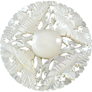 Large Carved Openwork Mother of Pearl Bethlehem Holy Land Jordan Pearl Button Flower Star 1 7/16""