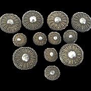 "12 Antique Victorian Matching Brass Cut Steel Buttons 5/8"" and 1 1/8"""