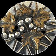 "Antique Victorian Steel Cut Steel Brass Button Wine Grapes 1"""