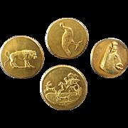 "Four Antique Victorian Hunt Sporting Buttons Friedrich Arlt Vienna 13/16""  Lion Boar Pheasant Deer Horse Dog"