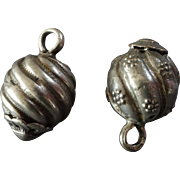 Two Antique Silver (silver content lower than sterling) Buttons Onion Shape Traditional Costume Hungarian? 11/16""