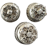 """Three Antique 13lot Silver Buttons Traditional Costume 5/8"""""""