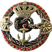 """Large Vintage Italian Couture Metal Red Paste Button Crown Anchor Maritime Nautical Theme 2 1/16"""""""