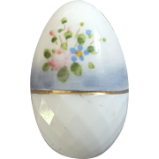 """Unusual Antique Victorian Painted White Glass Easter Egg Button 7/8"""""""