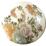 Japanese Satsuma Button Flowers and Butterflies - just under 1 3/16""