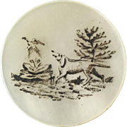 """Antique Victorian Etched Mother of Pearl Hunt Sporting Button Dog Chasing Pheasant 1 1/8"""""""