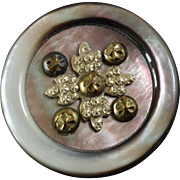 """Antique Victorian Mother of Pearl Button Faux Cut Steel Embellishment - just under 1 1/4"""""""