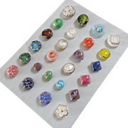 """A Card of 25 Pastel Coloured Glass Buttons 1/2"""" to 7/8"""""""
