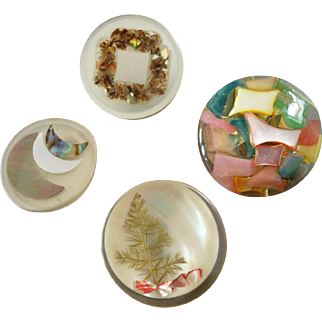 """Four Resin Couture Buttons Mother of Pearl  Shell Inlay Christmas Tree Crescent Moon - up to 1 1/4"""""""
