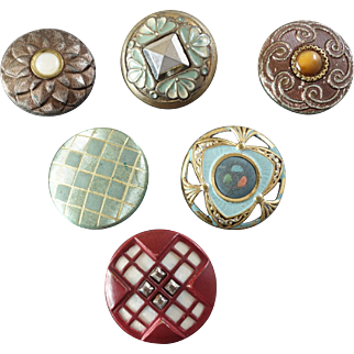 """Six Antique Victorian Lacquered Metal Celluloid Glass MOP Inlay Cut Steel Composition Buttons: size 7/8"""""""