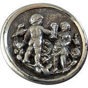 """Antique Victorian Metal Picture Button Cupid? Boy and Girl? 1 1/16"""""""