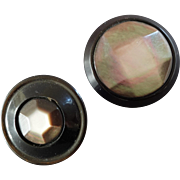 """Two Facetted Mother of Pearl Black Horn Buttons 1"""" and 1 3/16"""""""