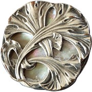 "Antique Art Nouveau Silver Plated Metal Mother of Pearl Button1 1/16"" Seaweed"
