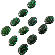 """A Card of 11 Tiny Oval Antique Victorian Green Glass Buttons 5/16"""" - great for dolls!"""