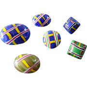 """Six Colourful Art Deco Czech Lampworked Glass Buttons - up to 7/8"""" Mica"""